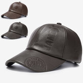 Collrown heren PU lederen retro baseballcap bedrukt met logo outdoor warme pet