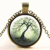 Tree Glass Cabochon Necklace Bronze Chain Pingente Colar