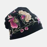 Women Cotton Embroidery Flower Printing Ethnic Style Beanie Hat Breathable Turban Cap