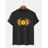 T-shirts à manches courtes à col rond et imprimé soleil pour hommes
