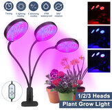 1/2/3 Head Plant Grow Light Head LED Lamp Hydroponics Greenhouse Garden 360° Flexible Indoor Dimmable