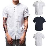 T-shirt en lin pour hommes lâche sans col respirant à manches courtes Sport Fitness randonnée haut de pêche