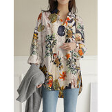 Women Cotton Vintage Floral Leaf Print Casual Loose Shirts with Front Pockets