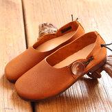 SOCOFY Kadın Deri Gündelik Outdoor Düz Yuvarlak Ayakkabı Üzerindeki Yumuşak Kayma