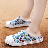 Women Lightweight Butterfly Pattern Beach Closed Toe Backless Soft Flats