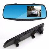 HD 4,3 polegadas Dual Lens Recorder Espelho Veículo DVR Traço Cam Câmera de visão traseira do carro