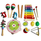 14pcs Baby Wooden Musical Instruments Toys Children Toddlers Percussion Set Teaching Aid Music for Kindergarten Kids