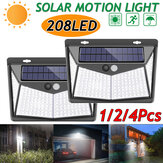 1/2/4X 208 LED Solar Power PIR Motion Sensor Wall Light Outdoor Garden Lamp Waterproof