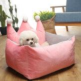 3 màu sắc sang trọng Crown Crystal Velvet Pet Pet Giường cũi Chó Mèo Ấm Sofa Giường Pet
