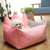 3 Colors Luxury Crown Crystal Velvet Pet Bed Kennel Dog Cat Warm Sofa Pet Bed