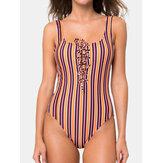 Bunte Streifen Schnür One Stück rückenfrei Badeanzug Für Damen