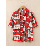 Vintage Animal Funny Printed Lapel Short Sleeve Loose Casual Women Shirts