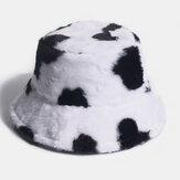 Unisex Rabbit Hair Warm Plush Cow Pattern Outdoor Casual All-match Bucket Hat