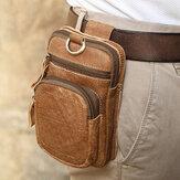 Männer Echtes Leder Multi-Pocket Gürteltasche Retro 6,5 Zoll Handytasche Gürteltasche Mit Haken