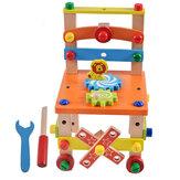 DIY brinquedo criativo multi-função porca desmontagem brinquedo cadeira de madeira