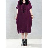 عارضة المرأة نقية اللون الخامس الرقبة الصيف قصيرة الأكمام فساتين فضفاضة