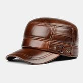 Męska prawdziwa skóra zimowa utrzymująca ciepło ochrona uszu jednokolorowy płaski kapelusz czapka z daszkiem