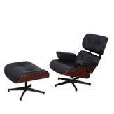 Premium  Recliner Lounge Chair & Footstool Genuine Black Real Leather Wood Modern Furniture