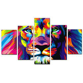 5pcs Canvas Print Paintings Colorful Lion Wall Decorative Printing Art Pictures Frameless Wall Hanging Home Office Decor