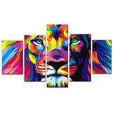 5 sztuk obrazy z nadrukiem na płótnie Colorful Lion Wall dekoracyjne druk artystyczny zdjęcia bezramowe wiszące na ścianę dekoracje do domowego biura