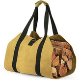Log Carrier Wood Carrying Bag Firewood Carrier for Fireplace 16oz Waxed Canvas