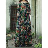 レトロな女性の花柄プリント長袖Oネックフロアレングスドレス