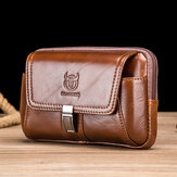 Bullcaptain Men Vintage Genuine Leather Waist Bag Belt Bag