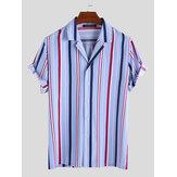 Erkekler Dikey Çizgili Kısa Kollu Rahat Gömlek
