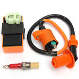 Ignition Coil + Racing CDI Box + Spark Enchufe para GY6 50 125 150cc Moped Scooter ATV Go Carts