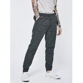 Verano Hombres vendimia Pantalones ajustados con cordón Algodón Lino Largo Harem Pantalones US