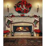 7x5ft Christmas Fireplace Photography Backdrop Vinyl Studio Background Photo Prop