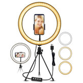 EGL-02 10 pouces 3 modes de couleur 10 niveaux de luminosité USB Video Light Selfie Makeup Stand Trépied Sets pour Video Live-Stream Vlog