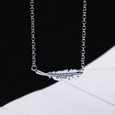 SHENLIN S925 Simple Fashion Necklace Women Elegant Leaves Pendant Necklace Clavicle Chain Charm Chokcer Female Party Jewelry Gifts