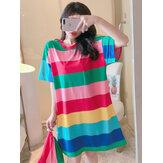 Colorful Chemise de nuit rayée Oversize pyjama confortable à manches courtes