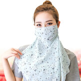 Women Multi-proper Floral Printing Masks Neck Protection Cover Face Sunscreen Ear-mounted Scarf Mask