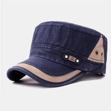 Cotton Made-old Solid Color Fashion Simple Washed Flat Hat Military Hat For Male