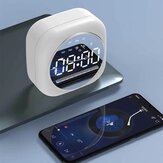 Sans fil USB bluetooth 5.0 LED Miroir Réveil Haut-Parleur TF FM Radio Clock Digital Snooze Table Clock Wake Up Phone Holder Electronic Large Time Display Home Decoran Clock