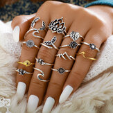 15Pcs Vintage Metal Hollow Mermaid Tail Rings Geometric Leaves Sunflower Adjustable Ring Set