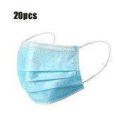 20Pcs Mascarillas desechables Mascarilla facial Protección personal a prueba de polvo de 3 capas