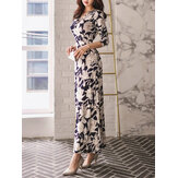 Women's Maxi Long Dress V Neck Floral Print Split Dress