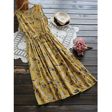 Women Sleeveless High Drawstring Waist Floral Dress