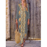 Bohemian Damen V-Ausschnitt Blumendruck Beach Holiday Split Maxi Kleid