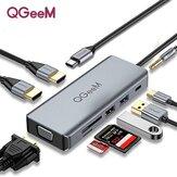 QGeeM 9 в 1 Тройной адаптер для док-станции концентратора USB-C Дисплей с двумя 4K HDMI HD Дисплей/1080P VGA / 87 Вт USB-C PD3.0 Питание / USB 3.0 / USB 2.0 / аудиоразъем 3,5