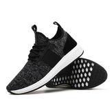 Men Korean Flying Woven Sneakers Breathable Light Increasing Height Running Shoes