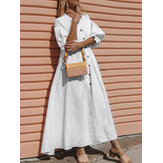 Daily Casual Women Solid Color Ruffle Sleeve Button Holiday Maxi Dress