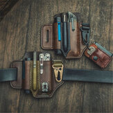 Taillenmontiertes Retro EDC Tactical Survival-Werkzeugset EDC Field Leather Tactical Bag Mini-Taschenlampen-Holster-Werkzeugkoffer Survival Storage-Taillentaschen-Messertasche