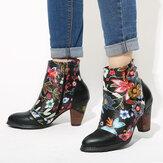 SOCOFY Kadın Çiçek Nedensel Siyah Sıcak Astarlı Yığılmış Topuk Ayak Bileği Botlar