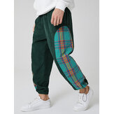 Mens Corduroy Plaid Patchwork Pocket Drawstring Elastic Waist Jogger Pants