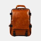 Männer Kunstleder große Kapazität Casual Business Retro Mode 13,3 Zoll Laptop-Tasche Rucksack