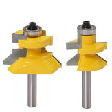 Drillpro 2Pcs 8mm Shank V Grooves & Matched Tongue Router Bit Set w/ Premium Ball Bearings Woodworking Cutter